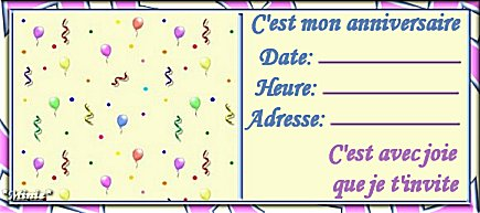 cartes d'invitation d'anniversaire